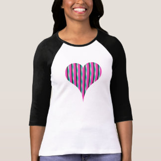 Heart with Pink and Green stripes T Shirt