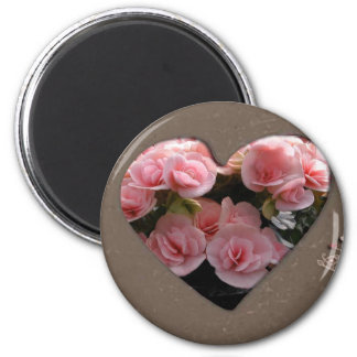 Heart with pink flowers 2 inch round magnet