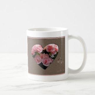 Heart with pink flowers classic white coffee mug