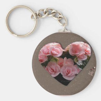 Heart with pink flowers keychains