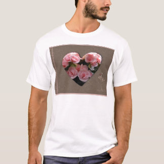 Heart with pink flowers T-Shirt