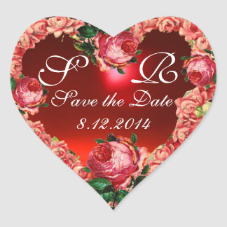 HEART WITH PINK ROSES SAVE THE DATE MONOGRAM HEART STICKER