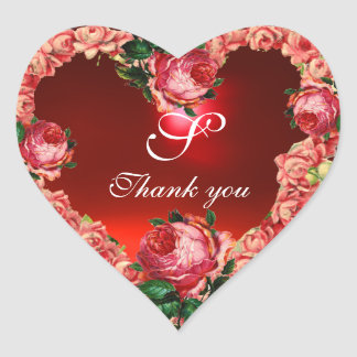 HEART WITH PINK ROSES THANK YOU MONOGRAM HEART STICKER