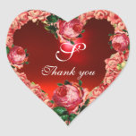 HEART WITH PINK ROSES THANK YOU MONOGRAM STICKER