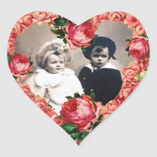 HEART WITH PINK ROSES WEDDING PHOTO TEMPLATE HEART STICKER