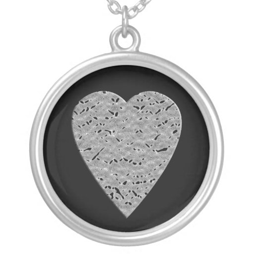 Heart with Printed Gray Pattern. Round Pendant Necklace