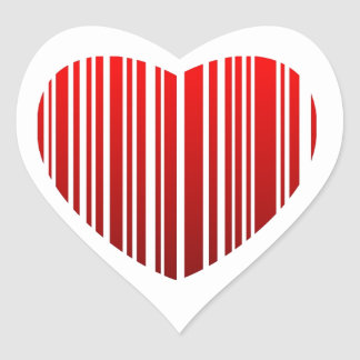 Heart with red stripes- valentine bar code heart sticker