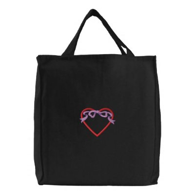 Heart with ribbon Applique Canvas Bags