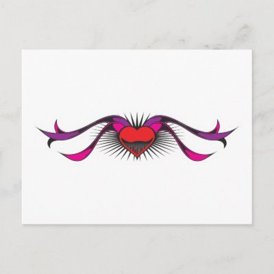 Heart with Ribbons Tattoo Design Post Card by doonidesigns