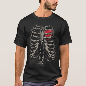 Halloween Themed Heart With Skeleton Rib Cage Bones Xray Style T-Shirt