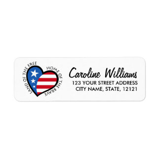 Heart with stars and stripes return address label