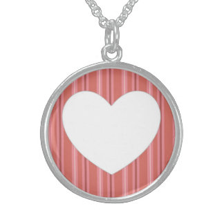 Heart with Stripes Round Pendant Necklace