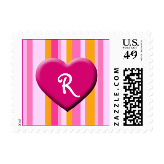 Heart with Stripes, R Stamp