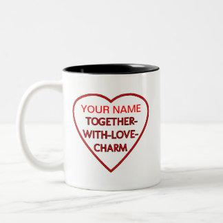 Heart with Switchwords TOGETHER-WITH-LOVE-CHARM Two-Tone Coffee Mug