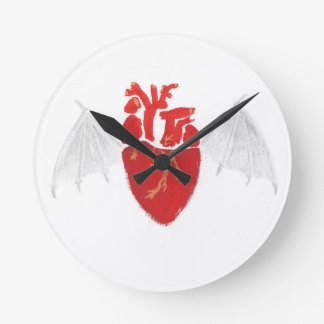 Heart With Tattered Wings Round Clock