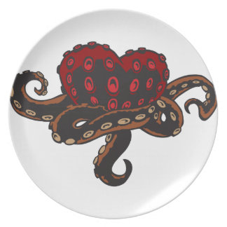 Heart with Tentacles Melamine Plate