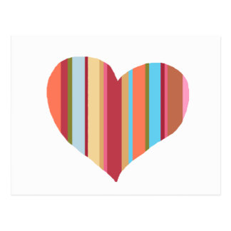 heart with vertical color-stripes postcard
