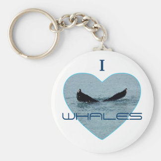 Heart with Whale Tail Photo Basic Round Button Keychain