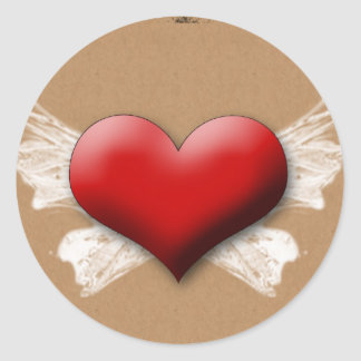 Heart with Wings Round Stickers