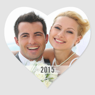 Heart with Year Photo Envelope Sticker