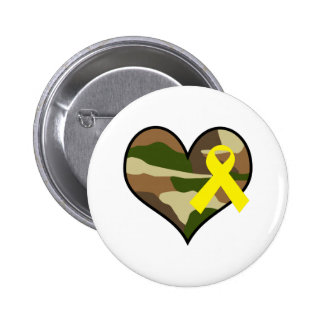 HEART WITH YELLOW RIBBON PINBACK BUTTONS