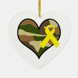 HEART WITH YELLOW RIBBON Double-Sided HEART CERAMIC CHRISTMAS ORNAMENT