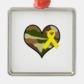 HEART WITH YELLOW RIBBON SQUARE METAL CHRISTMAS ORNAMENT
