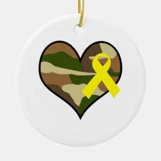 HEART WITH YELLOW RIBBON Double-Sided CERAMIC ROUND CHRISTMAS ORNAMENT