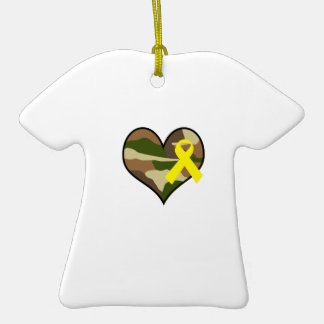 HEART WITH YELLOW RIBBON Double-Sided T-Shirt CERAMIC CHRISTMAS ORNAMENT