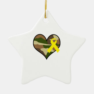 HEART WITH YELLOW RIBBON Double-Sided STAR CERAMIC CHRISTMAS ORNAMENT