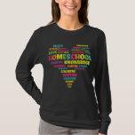 Heart Word Cloud Homeschool Quarantine Teacher T-Shirt