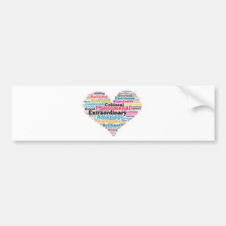 Heart Word Tag Cloud Car Bumper Sticker