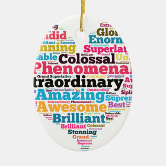 Heart Word Tag Cloud Ceramic Ornament