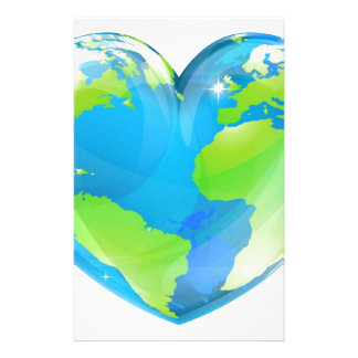 Heart world globe concept customized stationery
