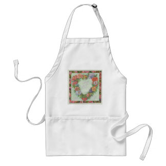 heart wreath in illustrated floral border, custom adult apron