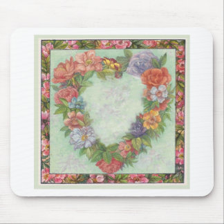 heart wreath in illustrated floral border, custom mouse pad