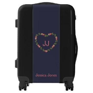 Heart wreath monogram luggage trolley