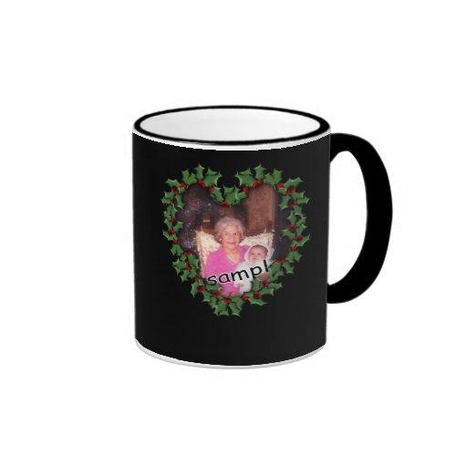 Heart Wreath on Black Ringer Coffee Mug