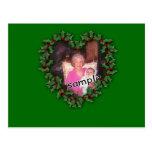 Heart Wreath on green Postcard