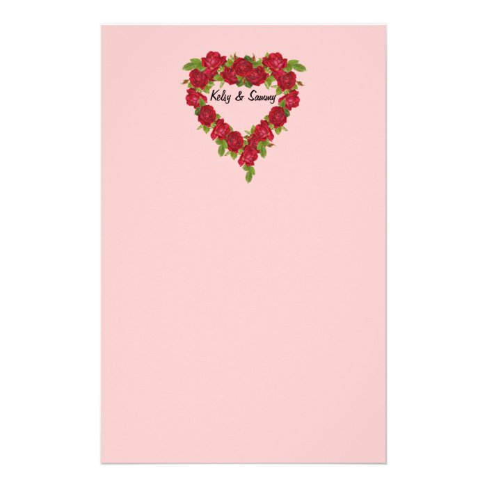Heart Wreath Red Roses Stationery