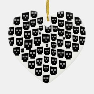 heart x skulls ceramic ornament