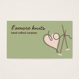 Heart yarn love knitting needles business cards