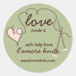 Heart yarn love knitting needles gift tag stickers
