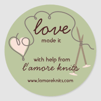 Heart yarn love knitting needles gift tag stickers