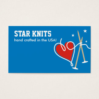 Heart yarn love knitting needles patriot biz cards