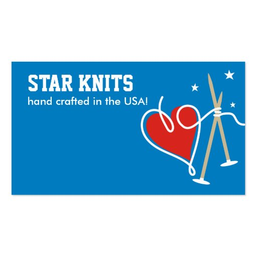 Heart yarn love knitting needles patriot biz cards business card templates