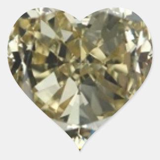 Heart Yellow Diamond Print Sticker