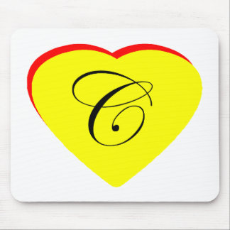 Heart Yellow Red C Wedding Invitation The MUSEUM Z Mouse Pad