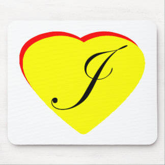 Heart Yellow Red J Wedding Invitation The MUSEUM Z Mouse Pad