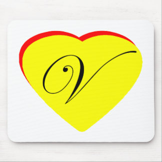 Heart Yellow Red V Wedding Invitation The MUSEUM Z Mouse Pad